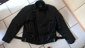 GERMAN, ECHTES LEDER Genuine Vintage Leather Biker Jacket Size L-42 Black