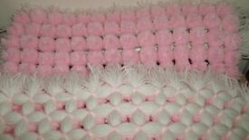Lovely Pink and White Pom Pom Blanket