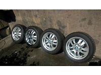 bmw alloys with new tyres pcd 5x112 can fit bmw 320 vw golf audi a3