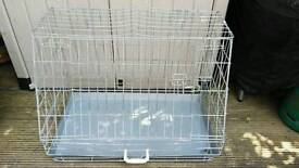 """FOLDING METAL PET / DOG CAGE WITH ANGLED FRONT FACE L.35 x H. 26"""" x W 21"""""""