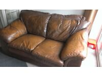 2 X TWO SEATER SOFT LEATHER SOFAS, LIGHT BROWN, COLLECT BRIDLINGTON