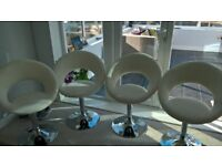 Dining table Chairs White & Chrome.X 4.