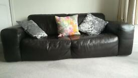 Barker and stonehouse brown leather sofa set