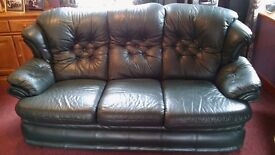 Green leather 3 seater sofa