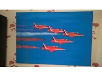 Red Arrows Original Oil Painting on Canvas