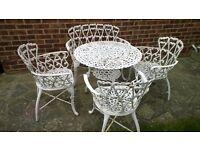 Cast aluminum 5 seater garden/bistro set, floral design
