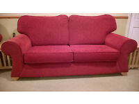 3 Piece Suite - red three seater sofa and pair of armchair seats in excellent condition