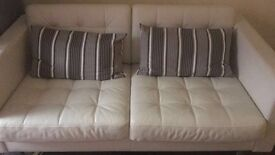 Almost new White Ikea Leather Two Seat Sofa