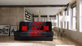 BRAND NEW LUKASZ FABRIC SOFA BED WITH STORAGE IN BLACK,GREY OR BROWN (FREE DELIVERY)