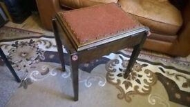 Lovely Dark Elm Antique - Piano Stool with under seat Storage