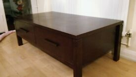 solid dark wood coffee table and 2 side tables, good condition