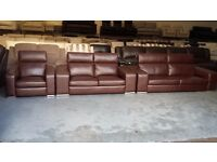 Ex-display Italian Domicil Monte Carlo brown leather 3+2 seater sofas and armchair