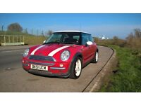 Mini R50, Red with white roof and bonnet stripes, leather and aircon