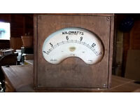 Old-fashioned electrical meter measuring kilowatts
