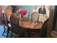 ANTIQUE DINING TABLE, CHAIRS AND UNIT SET