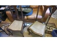 Set Queen Anne Chairs Solid wood Original Antique-