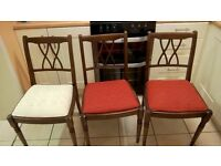 3 Wooden Dinning Room chairs - in need of repair