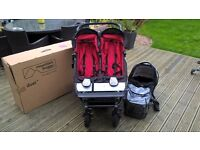 Chill Red Mountain Buggy Duet with Carry Cot