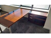 Walnut Veneer Executive Office Desk with Brushed Aluminium Frame
