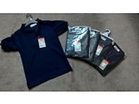 5 x new in packet navy polo shirts age 5/6 years (6/7)