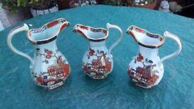3 masons ironstone jugs