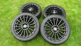 "ST170 FORD FOCUS TSW ALLOY WHEELS 17"" GLOSS BLACK REFURB 5MM TYRES"