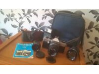 PRAKTICA MTL 50 Film Camera with 3 lens, flash, manual in bag / case