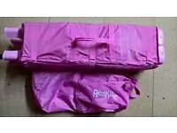 pink redkite travel cot and carry bag