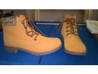 tan suede effect boots size 4
