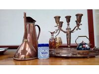 Selection of EPNS, copper and copper/brass and brass items.