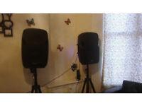 ACTIVE SPEAKER + W-AUDIO DMIX10FX =100 EFFECT +WIRELESS MIC