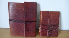 Brand new! Two hand-made leather-bound travel journals/sketch books/diaries /notebooks.Made in India