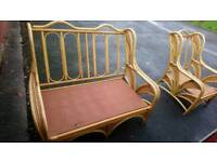 Cane conservatory suite furniture sofa and chairs