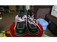 Ladies Kickers ankle boots, blue/white, pink laces, never worn size 5/6