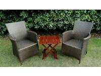 2 x Brand New Weatherproof Rattan Chairs & Used Wooden Folding Table