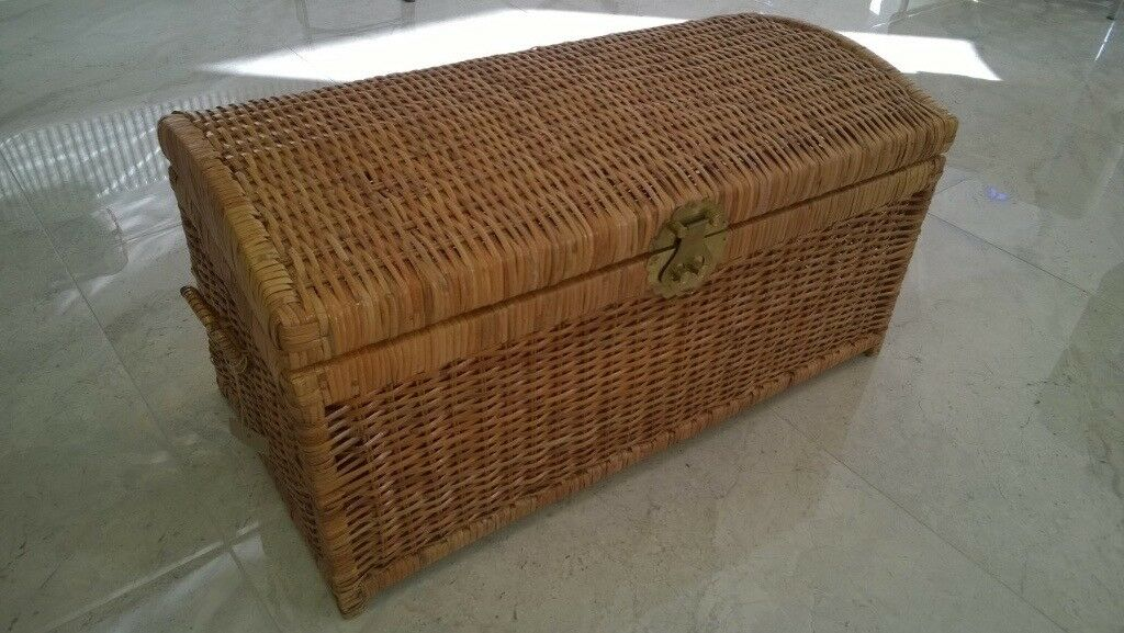 Large Wicker Ottoman Blanket Box Toy Chest Coffee Table In Cyncoed Cardiff Gumtree