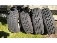 4 Peugeot alloy wheels with winter tyres for 185 65 14