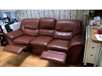 3 seats brown leather recliner sofa