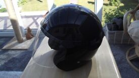 Black Open Face Takai Motorcycle Helmet with Clear Lift Screen Small 55-56