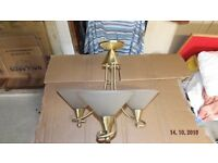 Pair of brushed brass, three-lamp light fittings