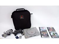 PLAYSTATION 1 PS1 CONSOLE AND GAMES BUNDLE WITH OFFICIAL PLAYSTATION BAG