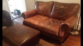 House of Fraser Vintage Cigar leather sofa and footstool