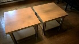 Pair of Pine & Chrome Side Tables 60cm x 60cm x 50cm