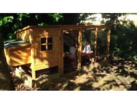 3 Laying chickens hens and coop