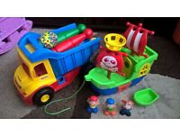 Little Tikes Pirate Ship (with sound,3 pirates and extras)and truck with bowling and colorful ball.