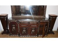 DELUXE ITALIAN DINING SIDEBOARD WITH ROSE PETAL FLOWER PATTERN ANTIQUE LOUIS XV STYLE ONLY £2000 !