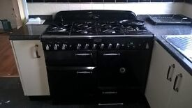 Rangemaster Elan 100 dual fuel black with glide out grill and extractor hood