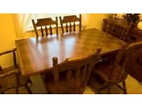 Solid hardwood table and six chairs