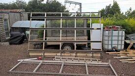 Van side rack and roof rack, rear door access ladder and bulk head