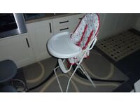 Childs Folding High Chair with safety straps and tray in Excellent condition